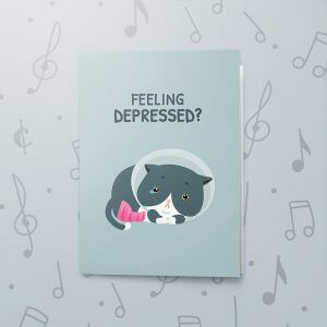 Depressed Cat – Musical Get Well Card
