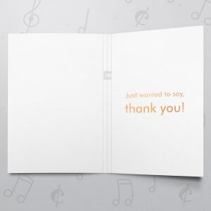 Bold Thank You – Musical Thank You Card - Metallic Foil