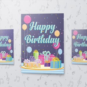 Birthday Presents – Musical Birthday Card - Large