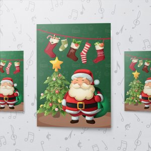 Merry Santa – Musical Christmas Card - Large