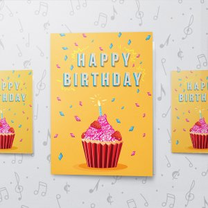 Happy Birthday Cupcake – Musical Birthday Card - Large