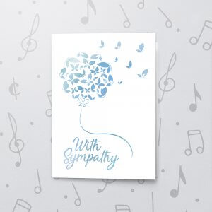 With Sympathy – Musical Sympathy Card - Metallic Foil
